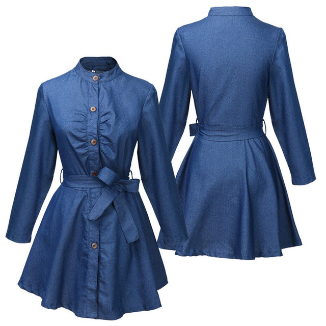 Denim Miniskirt Long Sleeve Dress 3