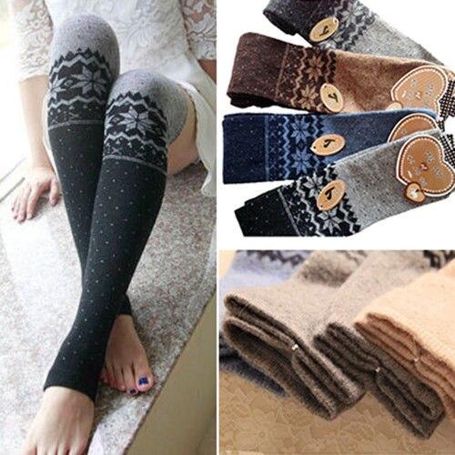 Womens Snowflake Thigh High Leg Warmers Socks Spring Over Knee Boot Cuff Socks