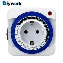 DIYWORK 15Mins-24 Hours Plug-in Timer Mechanical Timer Plug Socket Power Switch Timer Household Appliances EU Plug Energy Saving