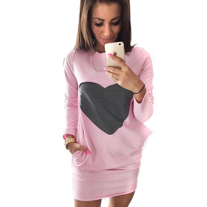 2018 Coração Das Mulheres mini Vestidos De camisola vestido feminino jaqueta de Manga Longa Bolso Duplo Roupas Femininas Bodycon Vestido ropa mujer