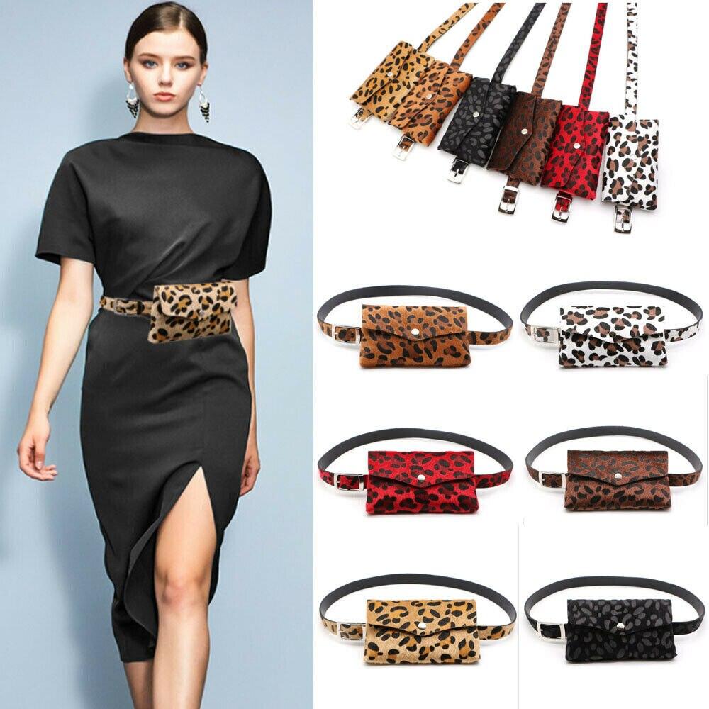 New Fashion Ladies PU Leather Leopard Waist Fanny Pack Belt Bags Pouch Travel Hip Bum Bag Women Mini Purse Waist Packs Hot