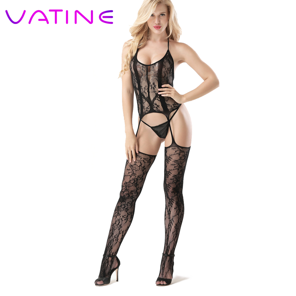 VATINE <font><b>Sexy</b></font> hanging Neck Exotic Apparel <font><b>Sexy</b></font> <font><b>Lingerie</b></font> <font><b>Catsuit</b></font> Open Crotch <font><b>Bodysuit</b></font> Erotic underwear Adult Products image