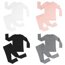 Осенний пижамный комплект для мальчиков и девочек, детская теплая Плотная хлопковая мягкая Пижама