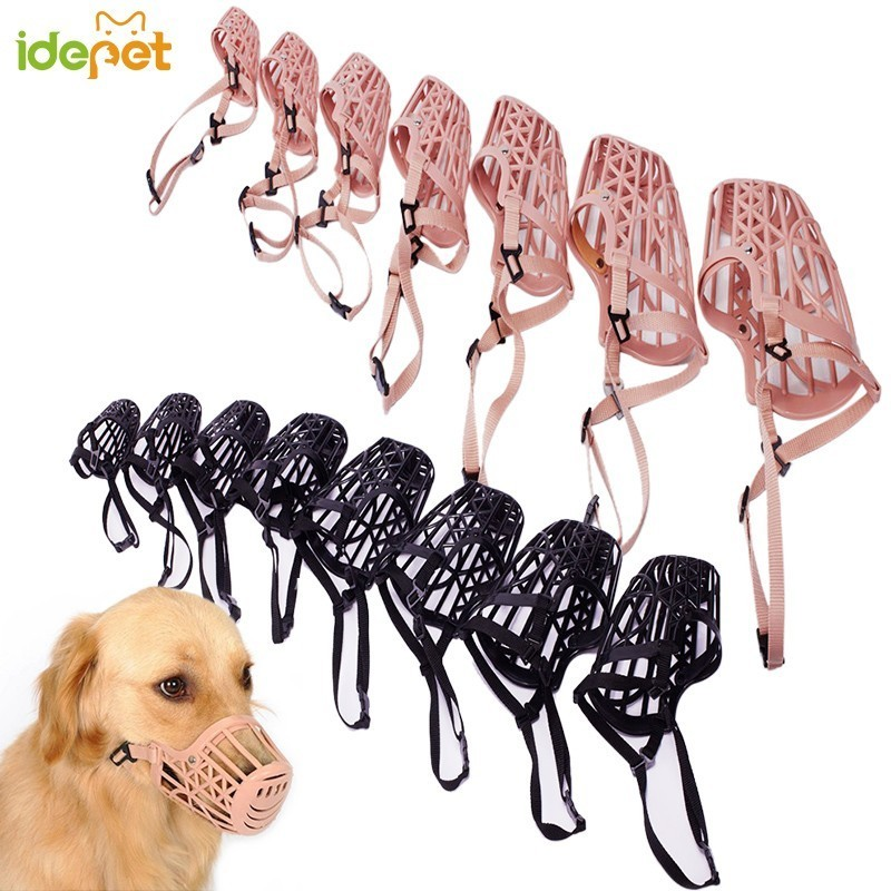 Idepet  Adjusting Pet Dog Muzzle Plastic Strong Dogs Muzzle Basket Design Anti-biting Dog Mouth Mask For Small Dogs 7 Sizes 30A1
