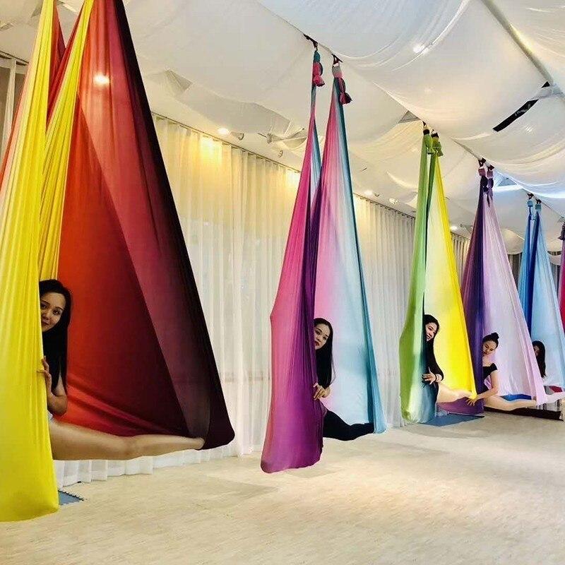 4 m x 2.8 m Haute Résistance Aérien Coloré Yoga Swing Hamac Haute Qualité Air Yoga Hamac Anti-Gravité ceintures de Yoga Pour Yoga Formation