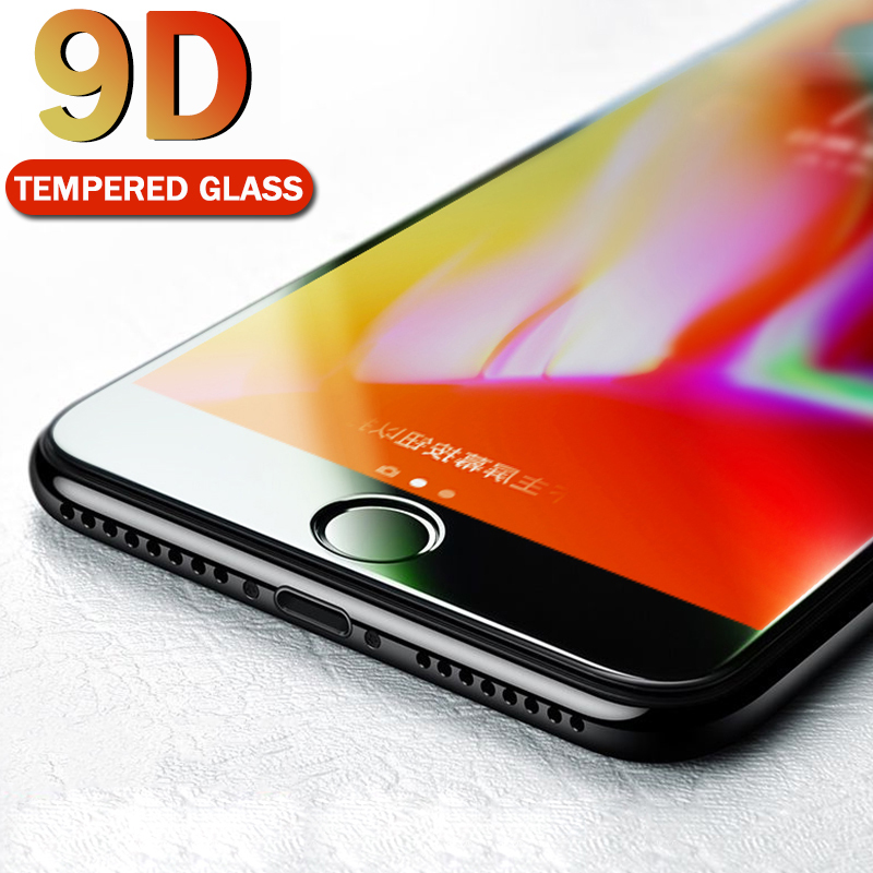 9D Protective Film for iPhone 7 Screen Protector iPhone 8 Xr Xs Max Full Cover Tempered Glass on iPhone X 6 6s 7 8 Plus Xs Glass