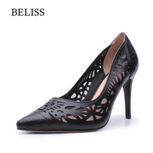 цена на BELISS Genuine Leather Pumps Women Thin High Heels Pointed Toe Sexy Hollow Summer Woman Pumps Shallow Ladies Shoes Stiletto X12