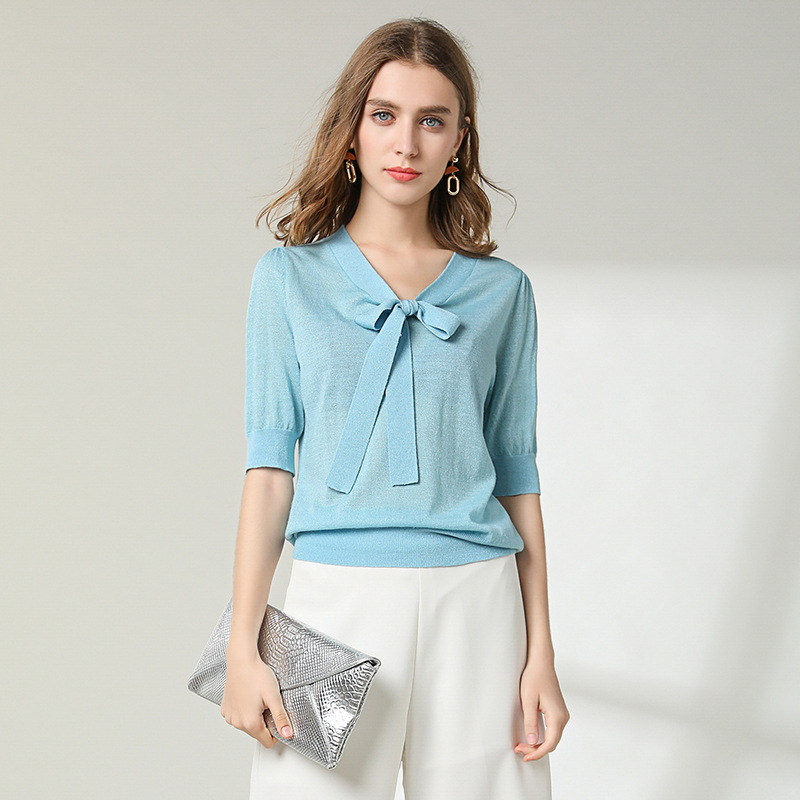 Knitting shirt woman light weight fabrics knitted shirt 93%Wool half sleeve bow sweater shirt women spring and summer 1913 Price $39.00