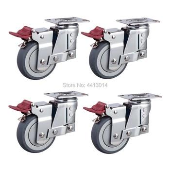 3 inch 75~110kg real photo laod 100kg to 130 kg medical wheel spring shock absorber caster