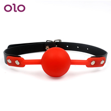 OLO Oral Fixation Mouth Gag SM PU Leather Band Silicone Ball Sex Toys for Couples Restraints SM Bondage Adult Games Slave
