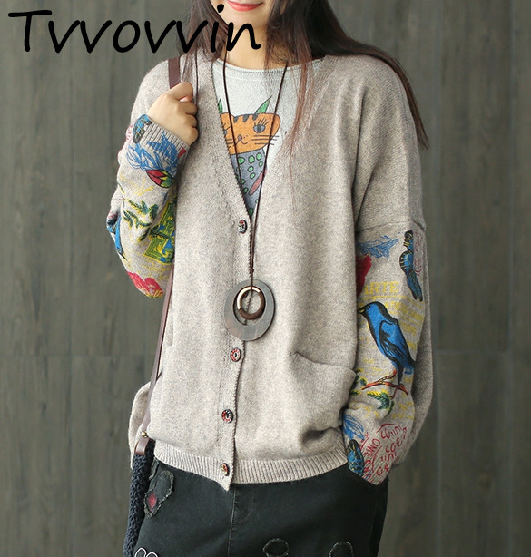 TVVOVVIN 2020 Autumn And Winter Fund New Casual V-neck Long Sleeve Cardigans Button Loose Wild Prent Maglioni Donna H898