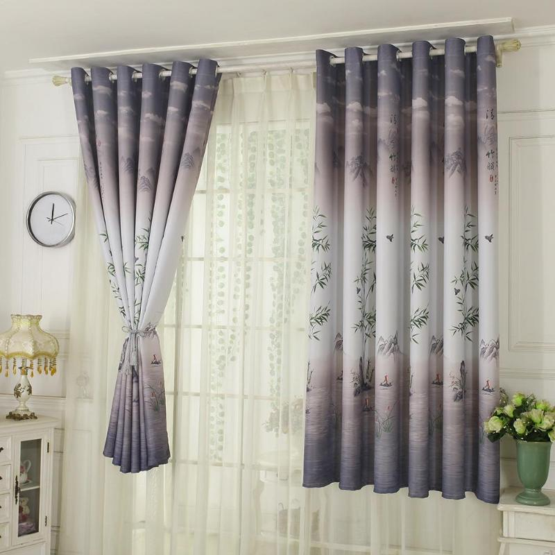 Pastoral Printed Blackout Curtains Window Blinds Drapes Living