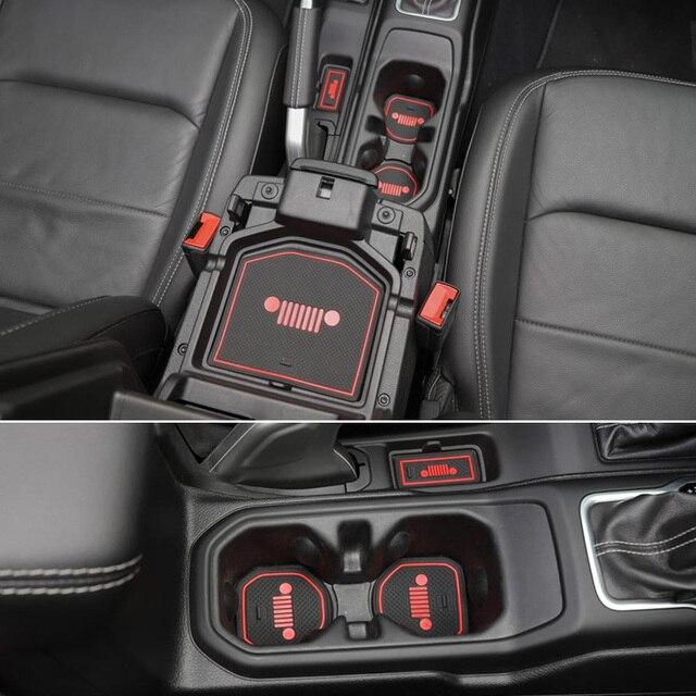19x авто интерьер внутри двери коврик Нескользящая чашка Накладка для 2018 Jeep Wrangler JL
