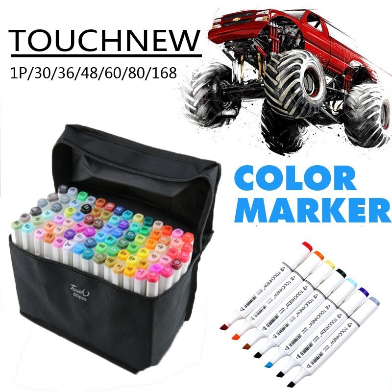Touchnew T7 Individual Colors Drawing Markers Of Alcohol Based Double Brush Head Marker Pen Manga Art Supplies