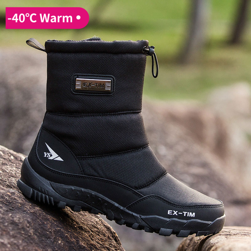 Snow Boots Men Hiking Shoes Waterproof Winter Boots With Fur Winter Shoes Non-slip Outdoor Men Boots  Platform Thick Plush Warm