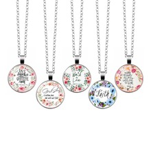 2019 New Fashion Bible Verses Glass Dome Pendant Necklace Walk In Love Scripture Quote Jewelry Christian Inspirational For Women