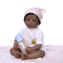 Babies Doll Lifelike lovely 22'' Handmade Dolls+Clothes Silicone Baby Vinyl Newborn Black Skin Toddl