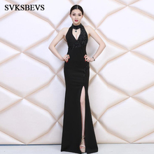 SVKSBEVS Luxury Crystal Halter 2019 Sexy Split Mermaid Long Dresses Elegant Off The Shoulder Party Maxi Dress