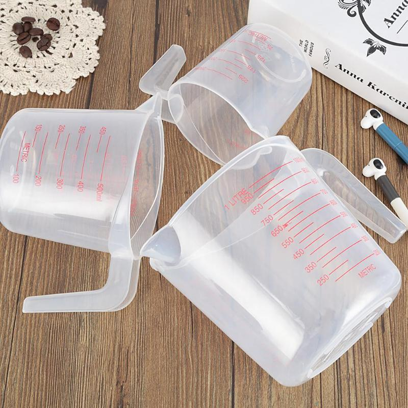 Plastic Kitchen High Quality 250/500/1000ML 3 Sizes Baking Use Measuring Cups Jug Pour Spout Surface Container Tool Supplies