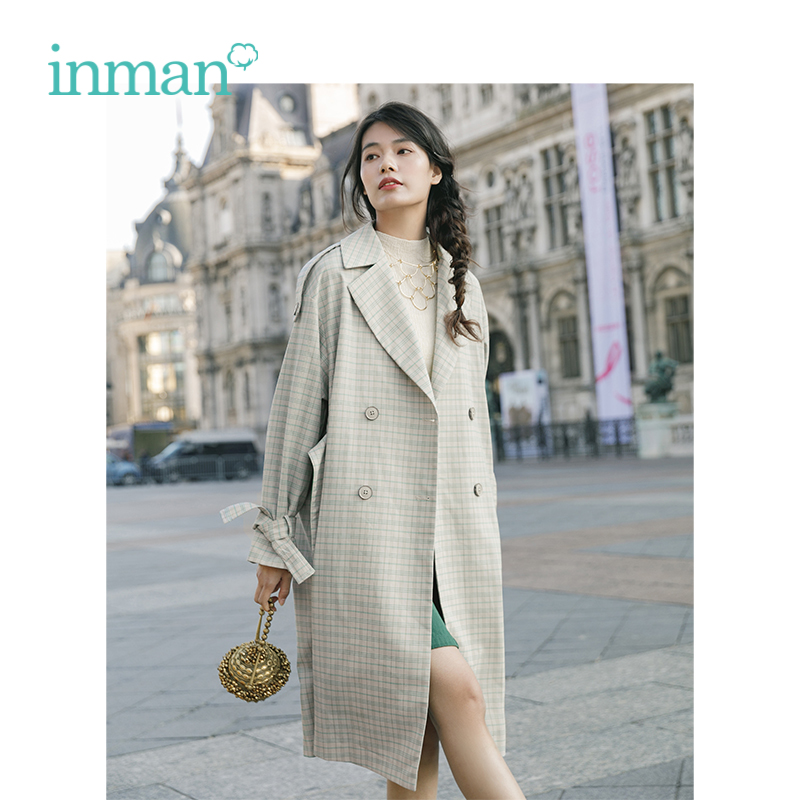 INMAN 2019 Spring New Arrival Turn Down Collar Retao Plaid Hongkong Style Casual Loose Long Sleeves
