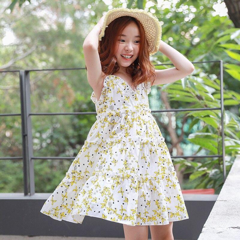 Nouveau Style été enfants vêtements filles Style coréen imprimé Floral enfants robe plage Resort robe