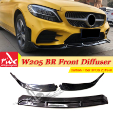 цена на For Brabus-style Front Lip Diffusor Bumper bar Splitter For Benz W205 LCI C180 C200 C250 Front Lip Diffusor 3-pcs Carbon 2019-in