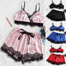 HIRIGIN 2pcs Womens Sexy Satin Lace Babydoll Bow Nightdress Pajamas Set