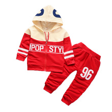 цена на Spring Autumn Children Cotton Clothing Suits Baby Boys Girls Zipper Hoodies Pants 2 Pcs/sets Toddler Fashion Sport Tracksuits