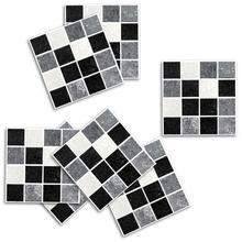 New 18pcs Wall Sticker Self Adhesive Waterproof Black Marble Mosaic Art Painting Kitchen Furniture Tile Decor