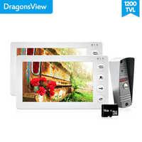 Dragonsview 7 Cal wideo telefon drzwi 2 monitory 1 dzwonka aparatu domofon 1200TVL Alarm ruchu nagrywania karty SD