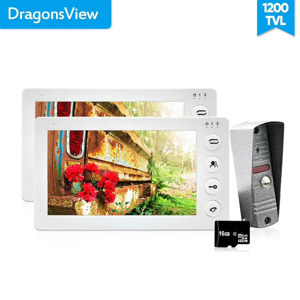 Dragonsview  7 Inch Video Door Phone 2 Monitors 1 Doorbell Camera Intercom System  1200TVL Motion Alarm Recording SD Card
