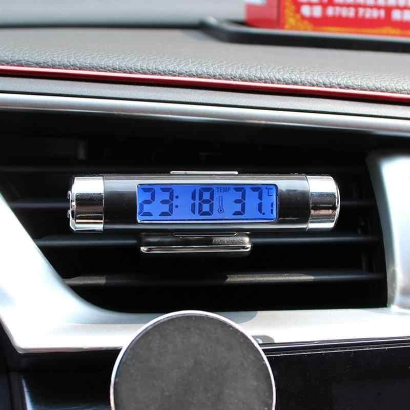 2 w 1 cyfrowy LED samochodów zegar termometr celsjusza temperatury podświetlenie LCD z baterią