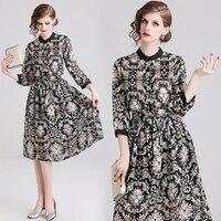 2019 New Spring Women dress Three Quarter Sleeve Print Chiffon Aristocratic Dresses Black 855