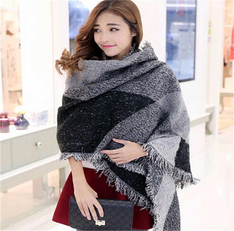 2018 الشتاء المرأة الجديدة طويلة الكشمير الأزياء صوف لينة دافئ طويل وشاح التفاف شال منقوشة وشاح