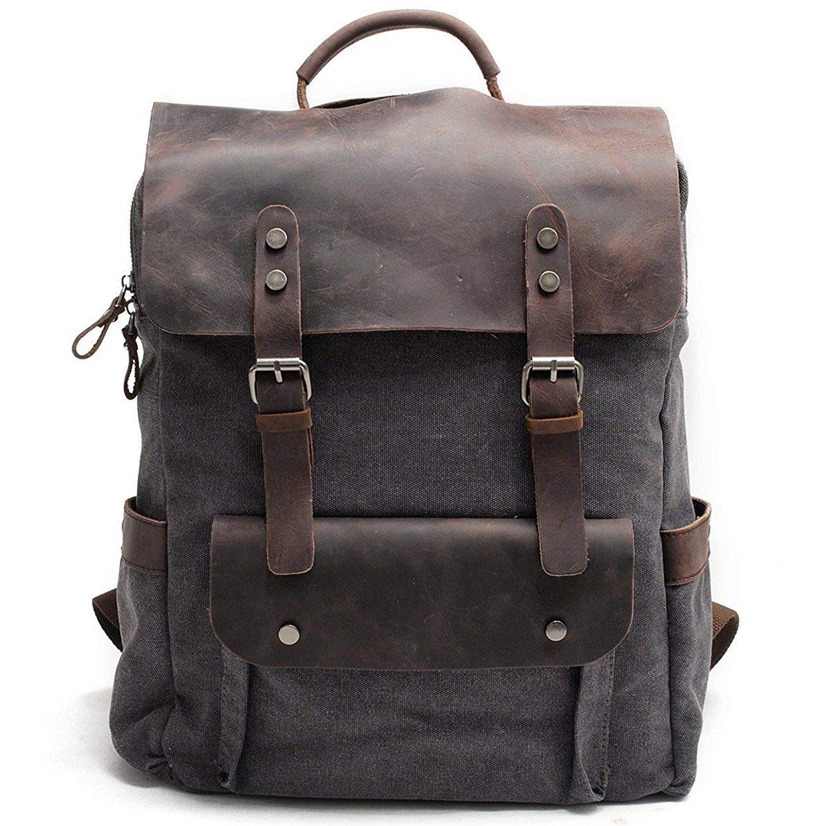 Men Leather Canvas Rucksack Laptop Backpack College School Bookbag(Dark Gray)Men Leather Canvas Rucksack Laptop Backpack College School Bookbag(Dark Gray)