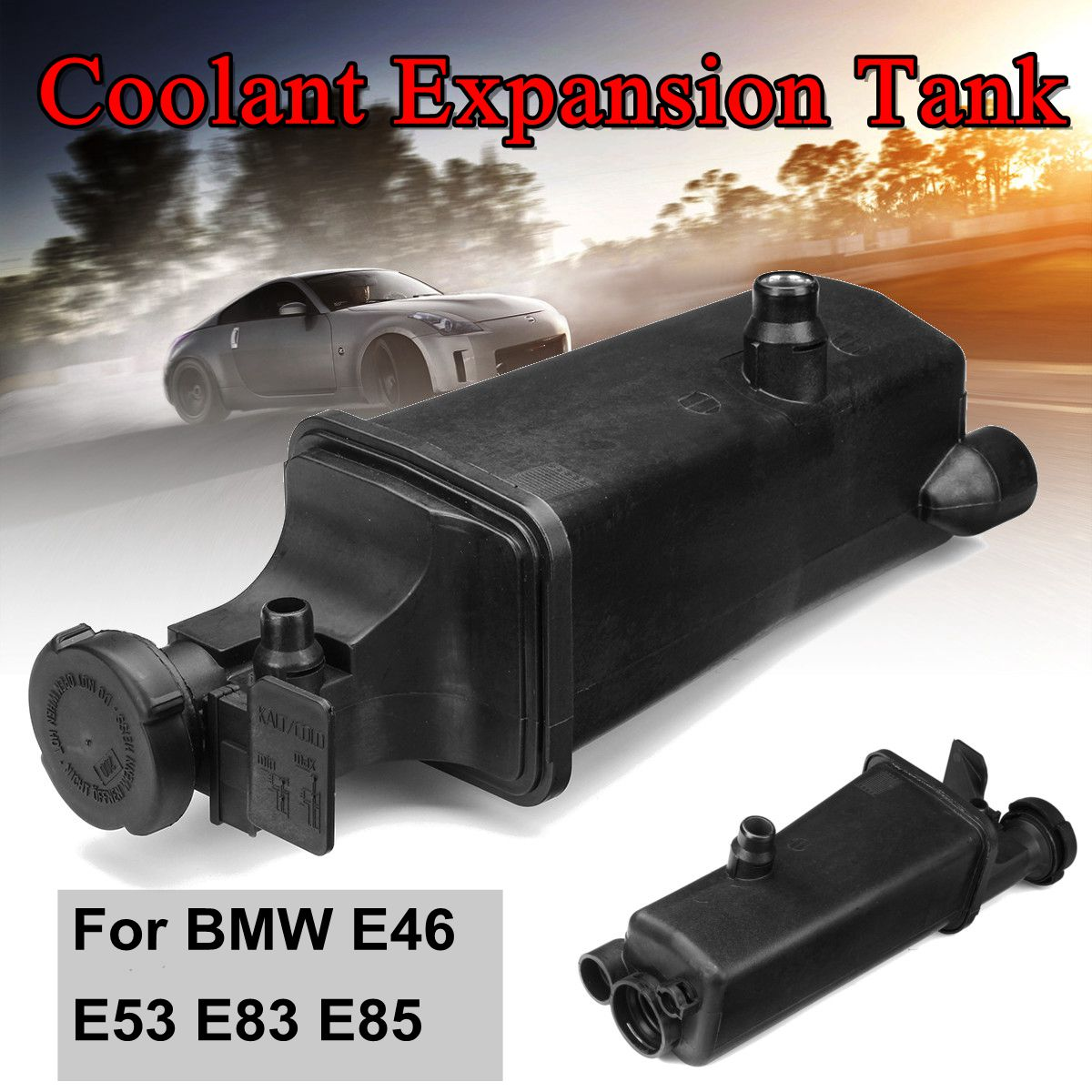 Auto Radiator Coolant Overflow Expansion Tank with Cap <font><b>17117573781</b></font> For BMW E46 E53 E83 E85 image