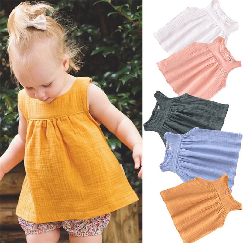 Toddler Tshirts Clothing Baby-Girl Cotton Sleeveless Summer Casual Solid Tees