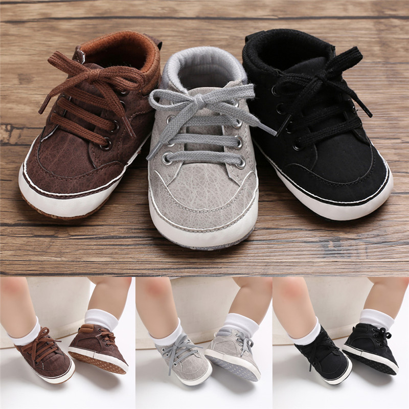 Newborn Baby Boy Girl Casual Cotton Lace Up Soft Sole Crib Shoes Baby Infant Toddler Anti-slip Sneakers Prewalker Shoes 3 Color