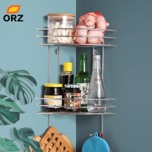 ORZ 2-Tier Kitchen Storage Corner Shelf Wall Mounted Bathroom Organizer Shelf Spice Rack Shower Caddy Home Storage Organization lyss 5 tier corner ladder bookcase shelf