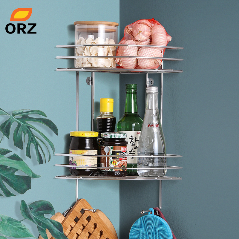 ORZ 2 Tier Kitchen Storage Corner Shelf Wall Mounted Bathroom Organizer Shelf Spice Rack Shower Caddy Home Storage Organization