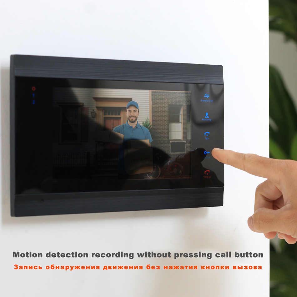 HomeFong فيديو باب الهاتف جرس باب إنتركوم 7 بوصة مراقبة جرس باب يتضمن شاشة عرض فيديو 4 لوحات داخلية و 1 في الهواء الطلق الجرس للرؤية الليلية