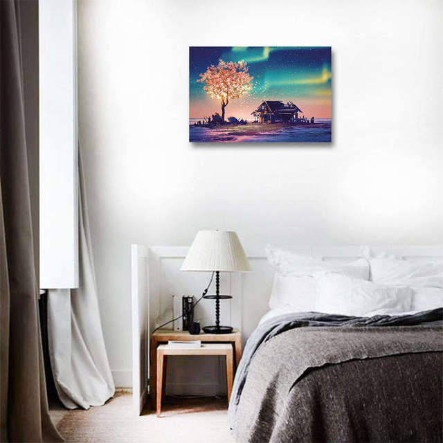 DIY Unframed Flowers tree landscape Pictures Canvas Painting For Living Room Wall Art Poster Home Decor