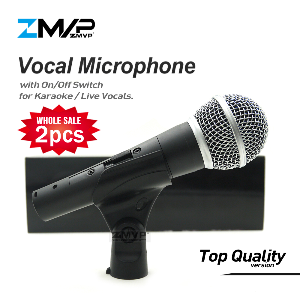 2pcs Top Quality Version SM58S Professional Live Vocals Karaoke Wired Microphone SM58SK Podcast Microfone with Real