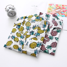 2019 New Women Fashion Short Sleeve Pineapple Printed High Quality Cotton Casual Blouses Shirts Loose Office Shirt Tops Blusas