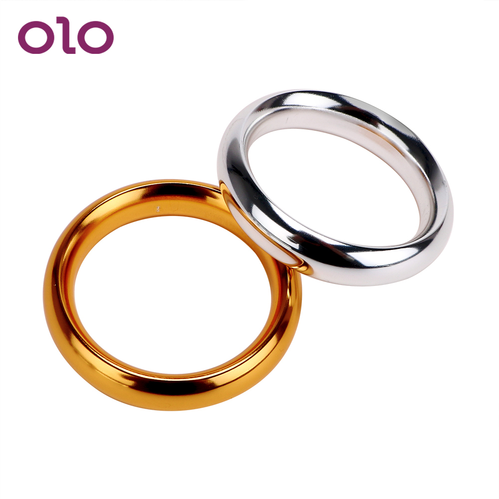 OLO Penis Ring Sleeve Cock Ring Male Chastity Device Aluminum Delay Ejaculation Metal Lock Loop Sex Toys For Men Various Sizes