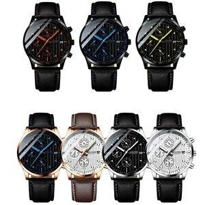 Image 2 - Luksusowy męski zegarek kwarcowy sportowy zegarek na co dzień mężczyźni wojskowy zegarki zegar człowiek skórzany zegarek na rękę data wodoodporny 30M Relogio