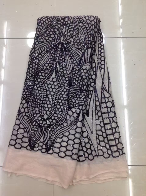 Beautifical black sequin lace fabric quality african french lace 5 yards luxury sequence lace fabric for bridal dress JLN92