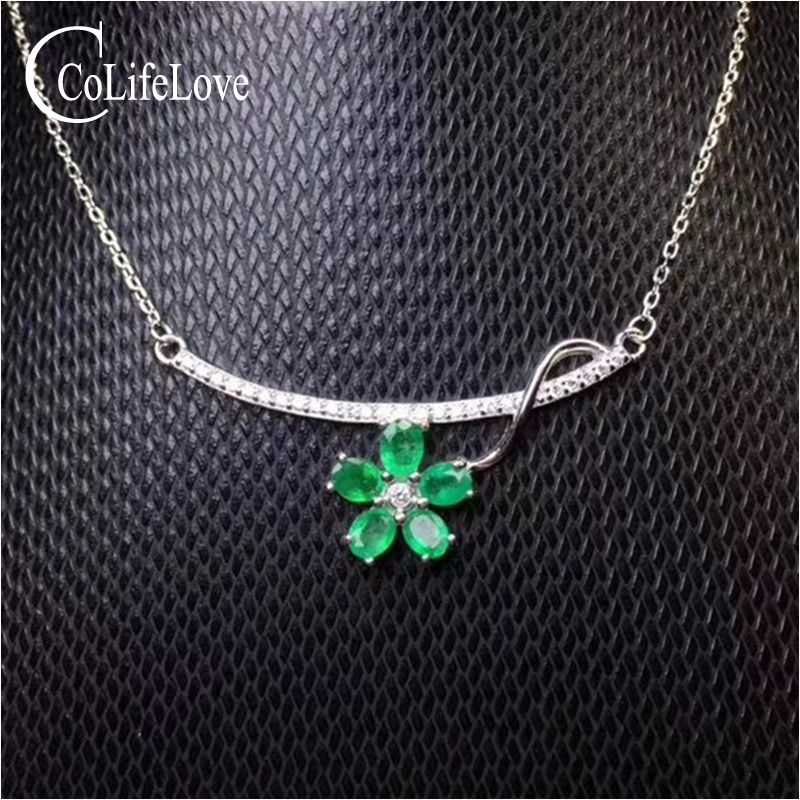 Elegant emerald pendant for party 5 pcs natural SI grade emerald silver necklace pendant solid 925