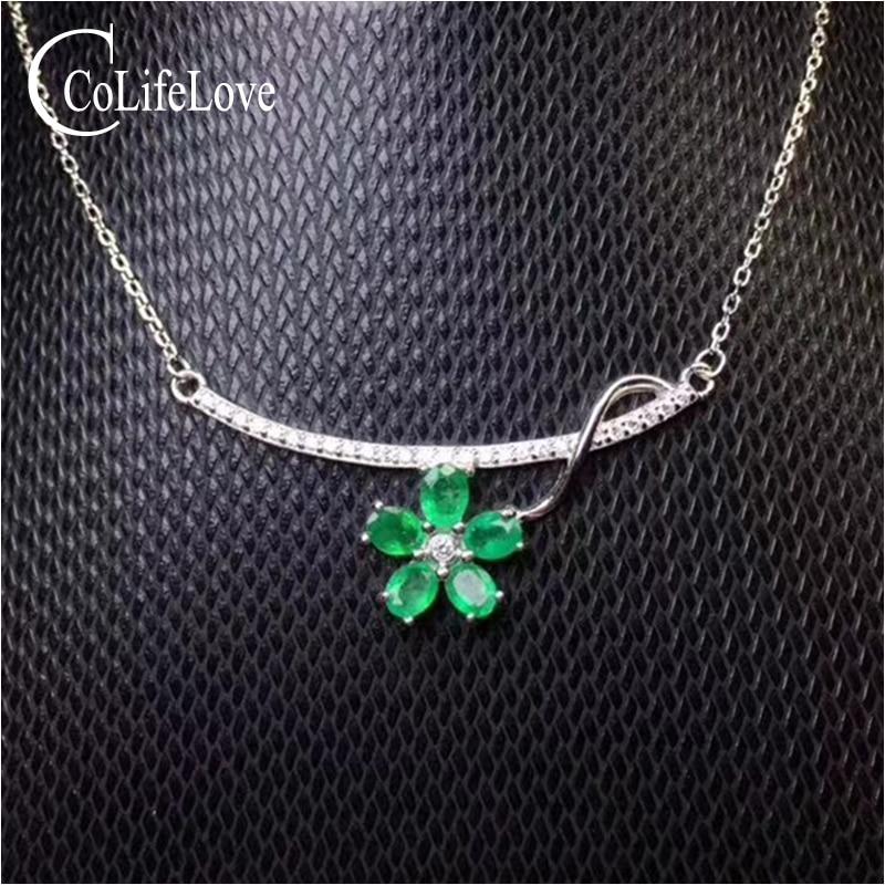Elegante verde smeraldo del pendente per il partito 5 pz naturale SI grado smeraldo ciondolo collana in argento solido 925 argento smeraldo gioielli