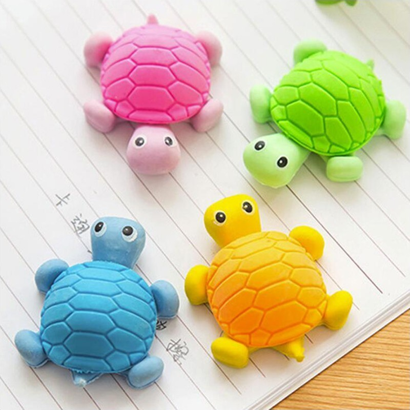 Pencil Eraser Colorful  Cartoon Cute Turtle Shape Office Stationery And School Supplies Eraser 1PCS